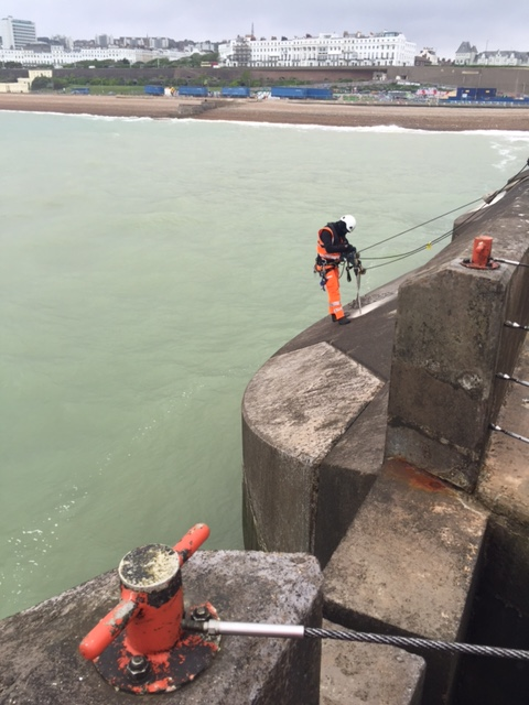 SAS Rope access team working on the sea wall caissons in Brighton